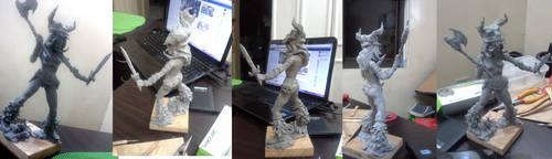 celtic warrior princess sculpture - sculpey clay by emmanuelxerxjavier