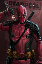 deadpool digital painting by emmanuelxerxjavier
