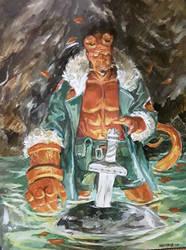 Hellboy on acrylics