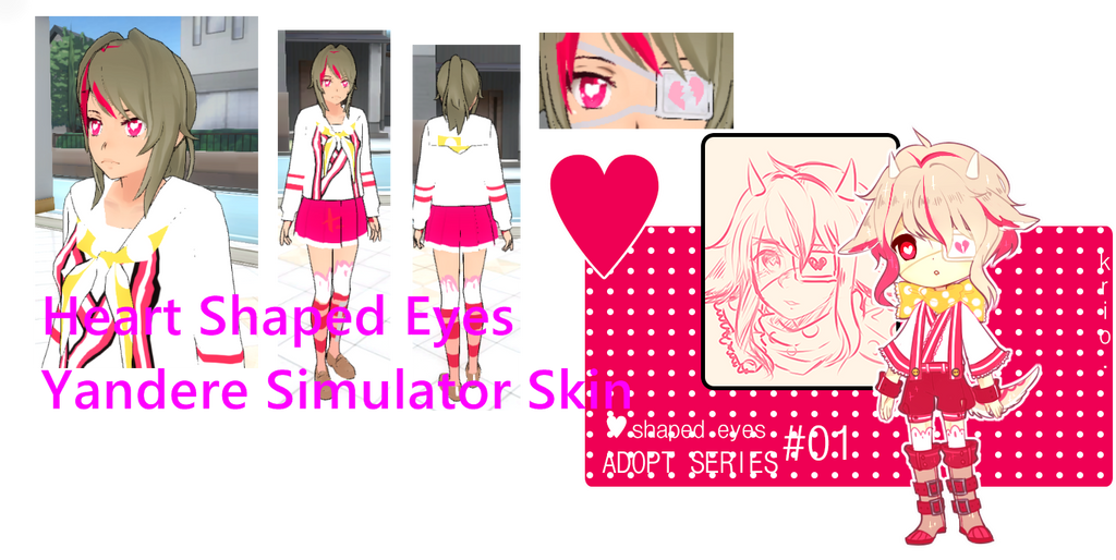 Yandere Simulator Skin Heart Shaped Eyes By BelugaTranz3333