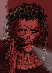 smoking zombie lady by SOLYNK