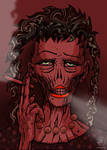smoking zombie lady