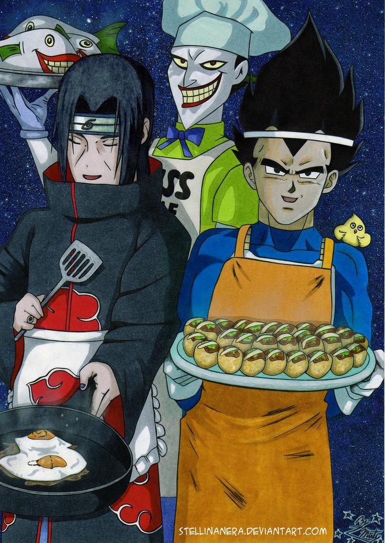 Itachi Joker and Vegeta cooking by stellinanera
