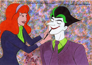Daphne puts the lipstick on Joker