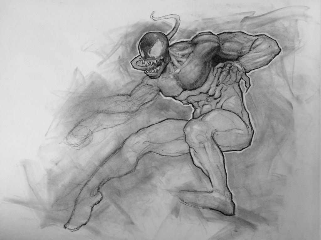 Venom WIP 18x24 charcoal on paper by BClary