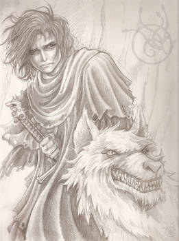 Jon Snow and Ghost by Medusa-Dollmaker