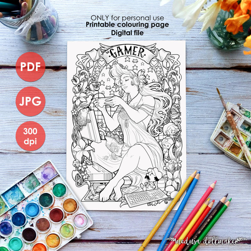 COLOURING PAGES in my ETSY shop by Medusa-Dollmaker