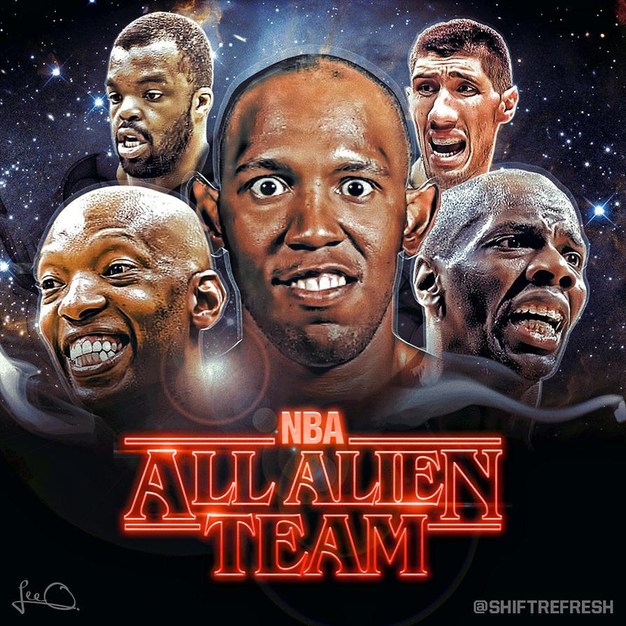 Tanaka Aliens Team: NBA All Alien Team (Stranger Things Parody) By Skythlee On