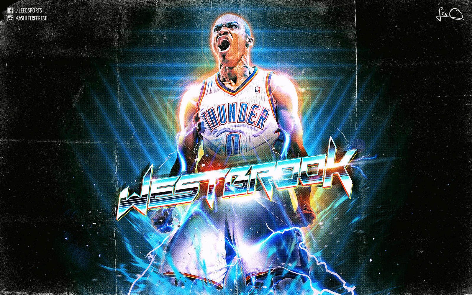 Russell westbrook retro nba wallpaper by skythlee on - Cool nba background ...