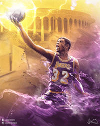 Magic Johnson NBA Poster by skythlee
