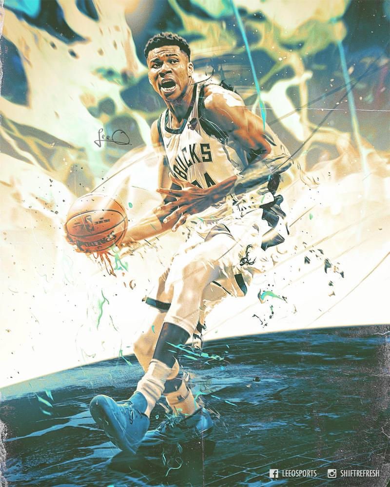 Giannis Antetokounmpo NBA Abstract Poster Design By Skythlee