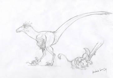 Velociraptorinae indet. by MunenMusho