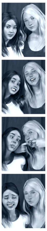 Oldie: Lali and Julie in a photobooth