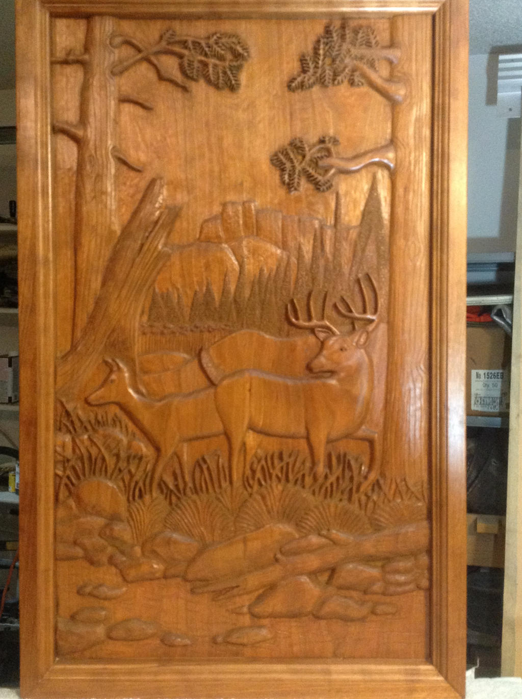 Relief carved deer in woods by mrbill on deviantart