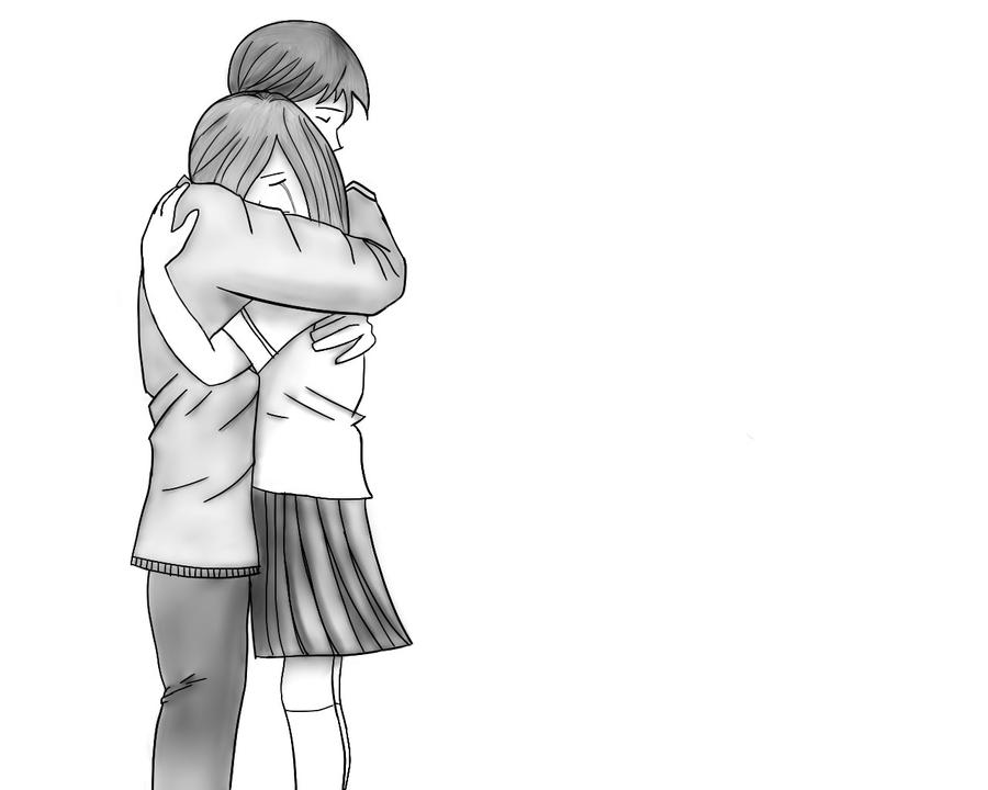Pics For > Anime Hug Drawing