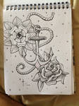 Anchor and flowers