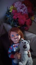 Good Guy Doll watching TV w/ Husky by FerdieLove