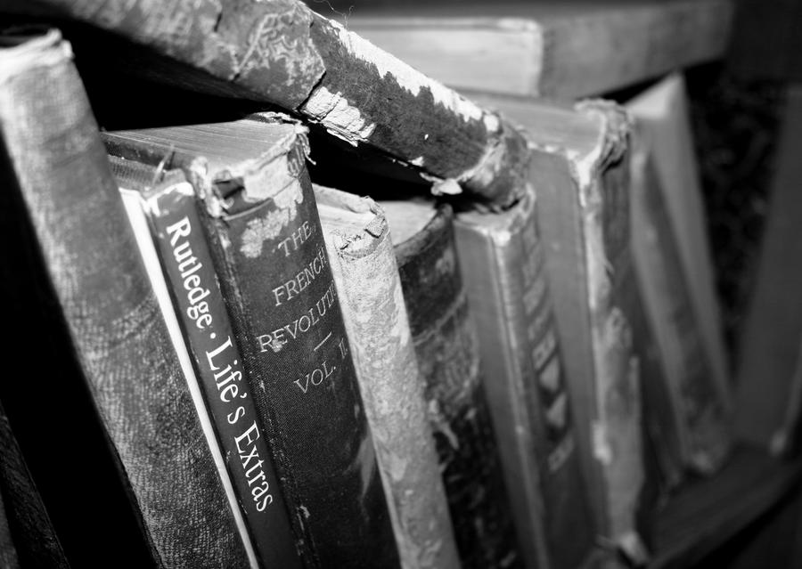 Antique books black and white version by tararleigh