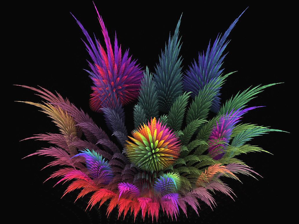 Spiky Rainbow Garden by wolfepaw