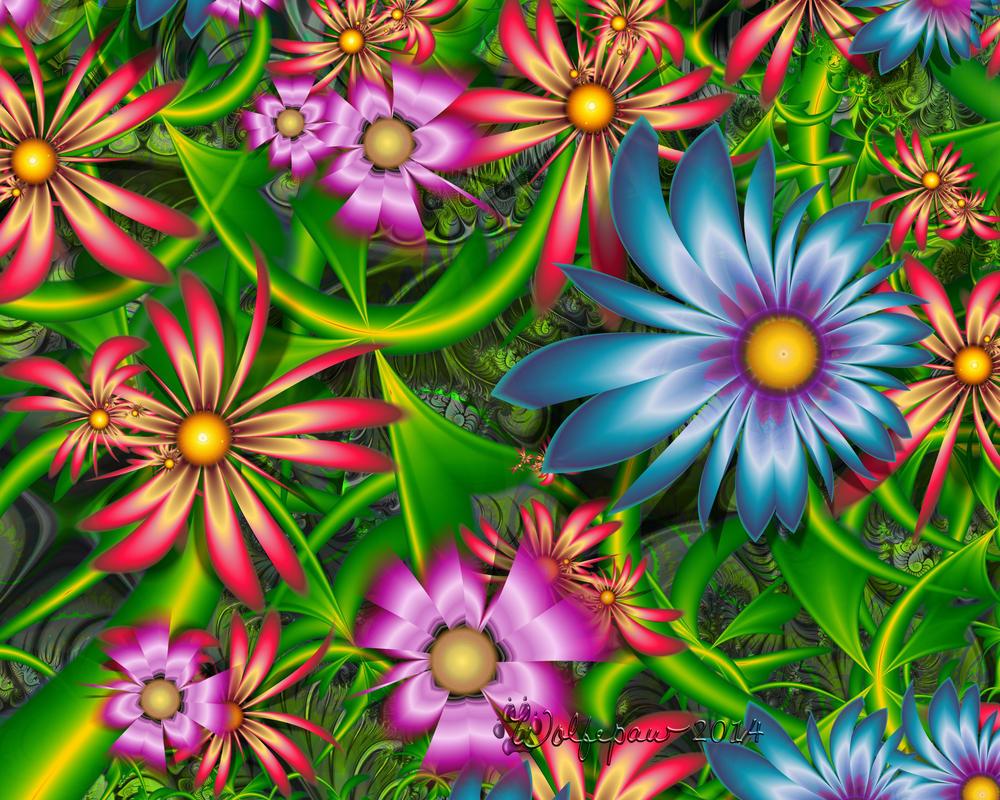 Fractal Flower Garden by wolfepaw
