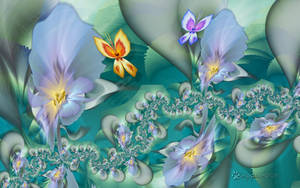 Irises and Butterflies by wolfepaw