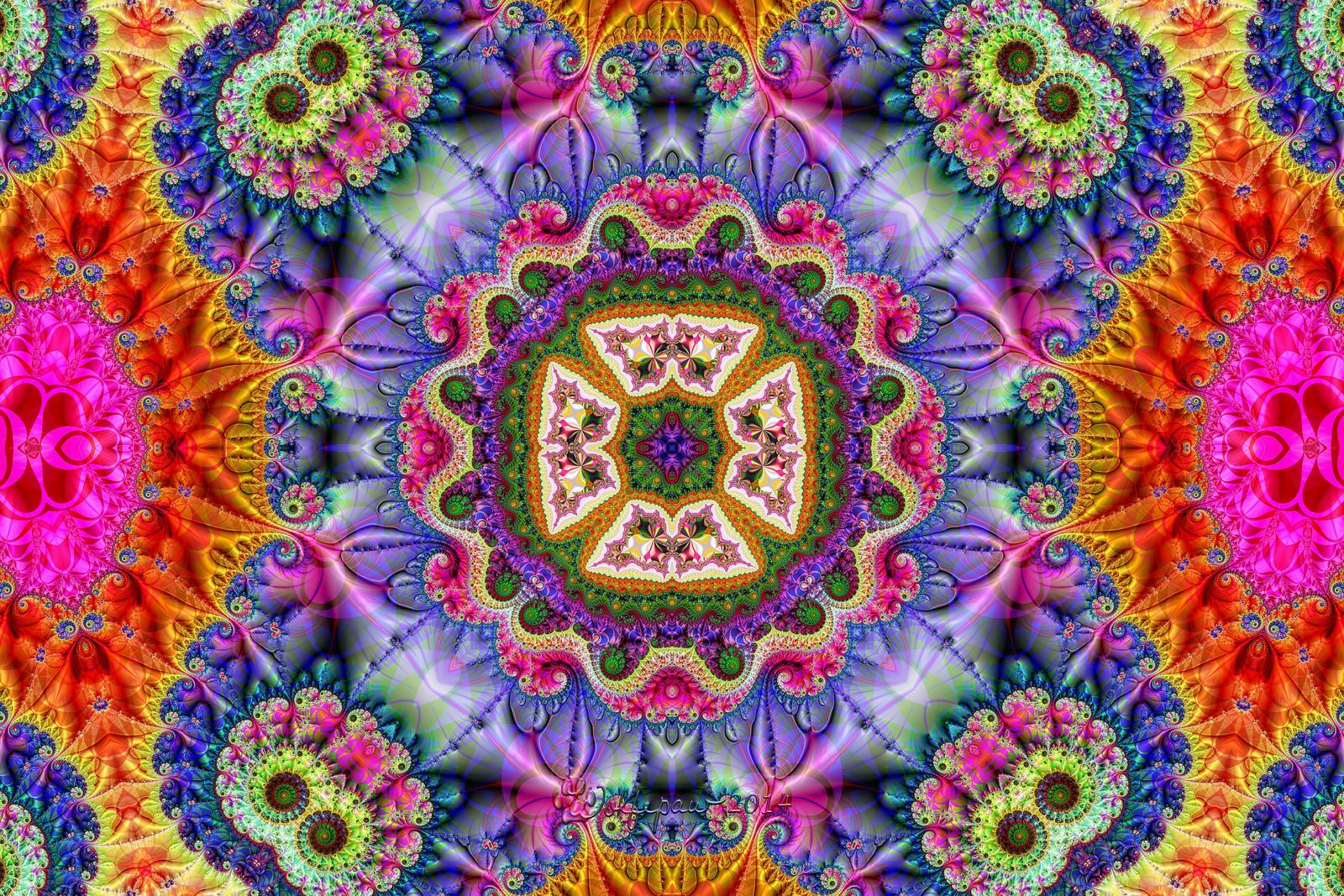 Rainbow Minibrot Kaleidoscope by wolfepaw