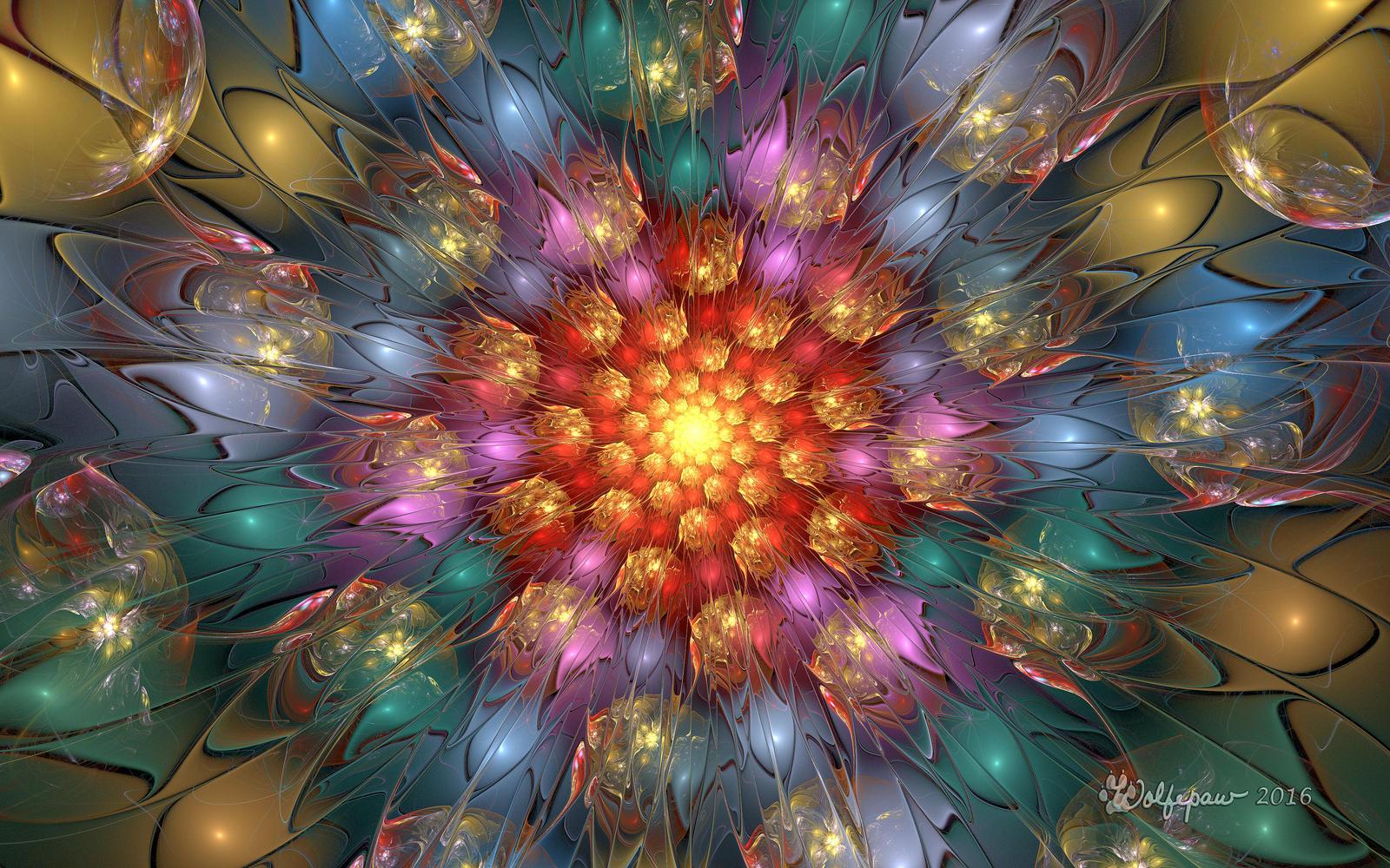 Fiery Flower Spiral by wolfepaw
