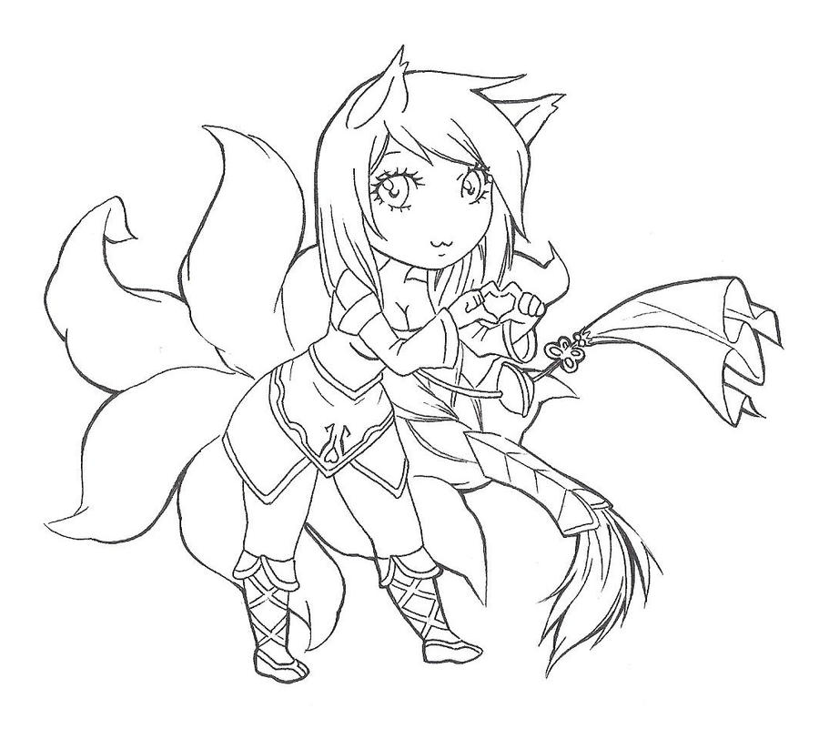 Ahri Chibi [lineart] by SpigaRose