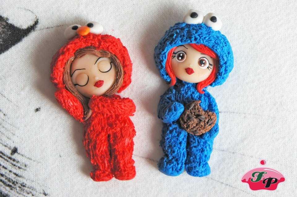 cookie monster and elmo dolls by FabrykaPyrki89