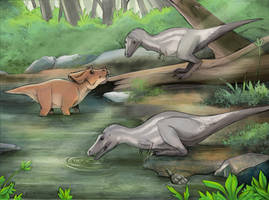 The Fox and the Hound but with Dinosaurs by rhunevild