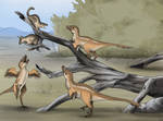 Young Dromaeosaurs Hunting