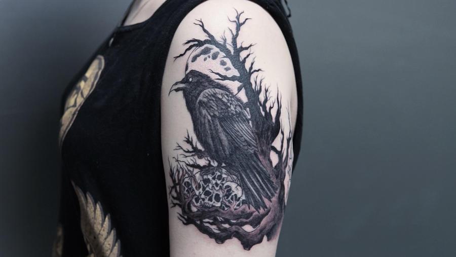 Raven Tattoo Side View By Shavypus On Deviantart