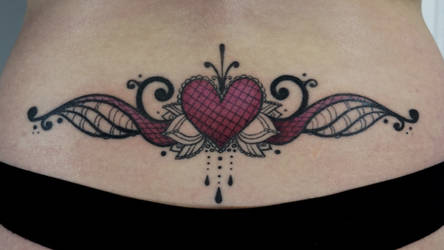 CUSTOM HEART LOTUS ORNAMENT LOWER BACK TATTOO by sHavYpus