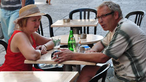 sharing a glass of Perrier