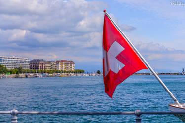 lake sky and flag by Rikitza