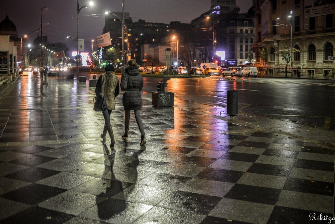 Walking On The Chess Table in Bucharest by Rikitza