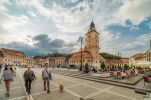 People and dog in Brashov by Rikitza