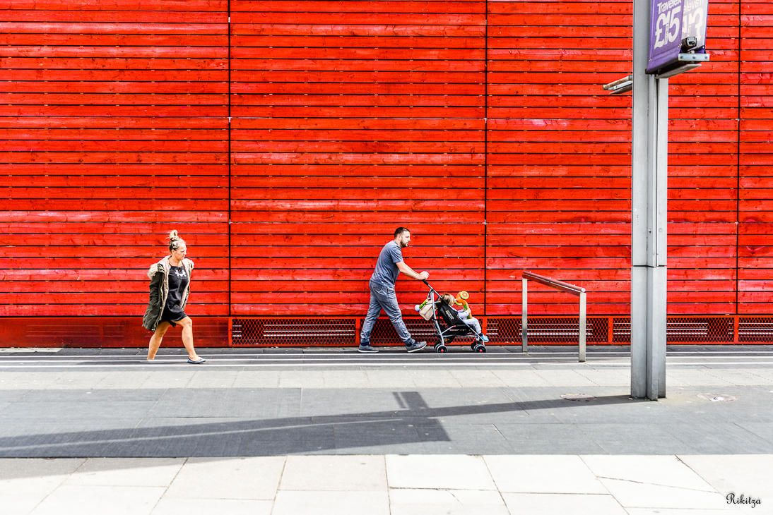 Street With Red Background by Rikitza