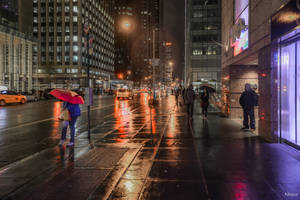 Waiting For The Night Bus On The Avenue by Rikitza