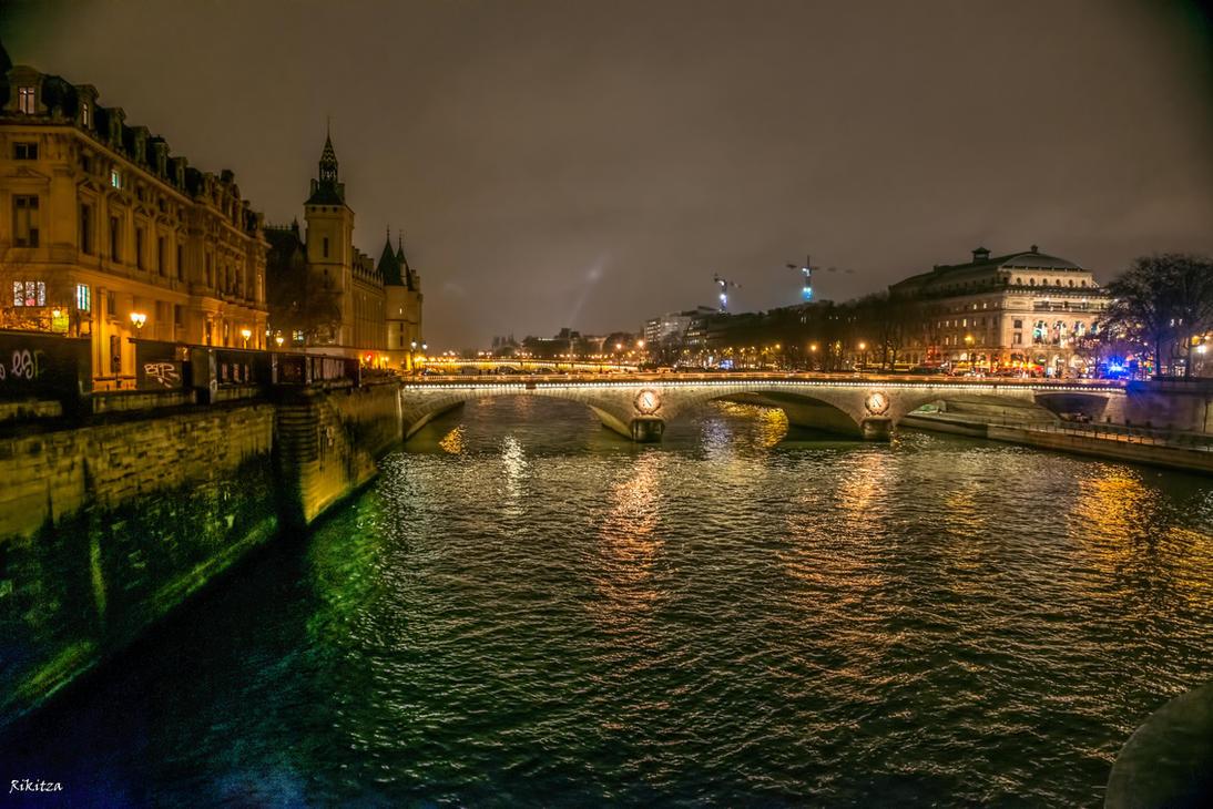 the Seine by night by Rikitza