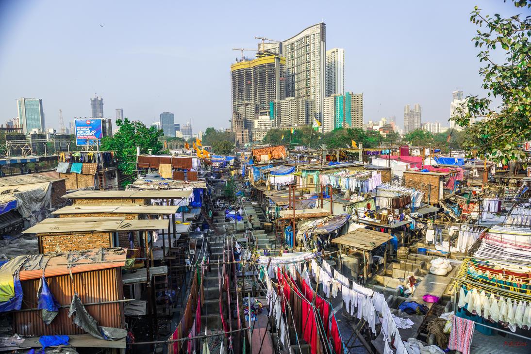Incredible India - laundry and buildings Mumbai by Rikitza