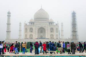 Incredible India - people at Taj Mahal by Rikitza