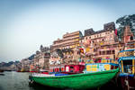 Incredible India - boats at the ghat