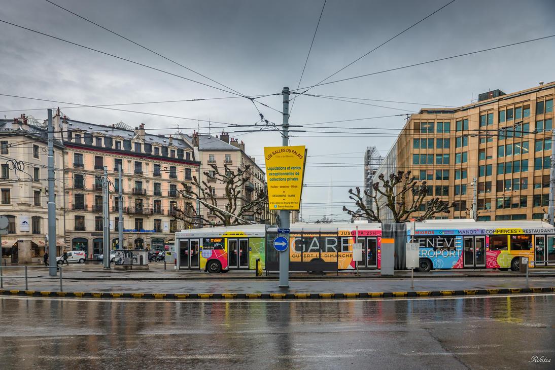 Geneva city - multicolored transportation by Rikitza
