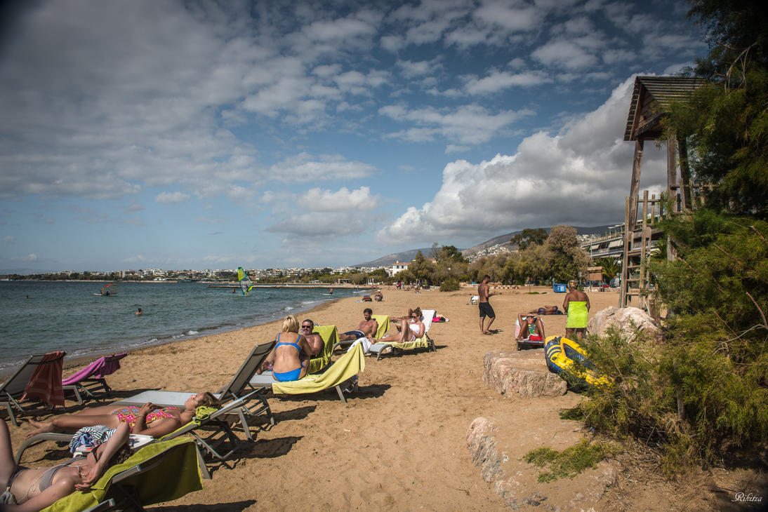 Greece Symphony in Blue - hotel beach by Rikitza