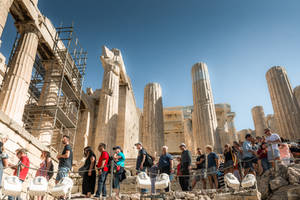 Greece - people and columns at Acropolis by Rikitza
