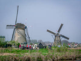 two windmills in Holland
