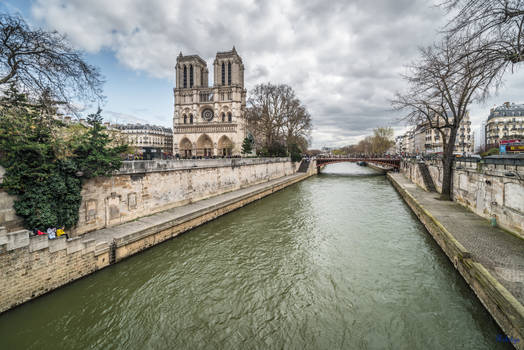 Paris the city of lights - Notre Dame on the left