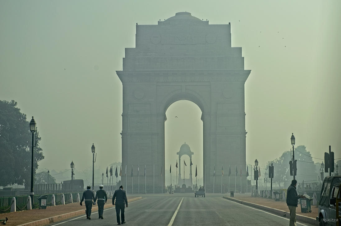 incredible India - foggy India Gate by Rikitza