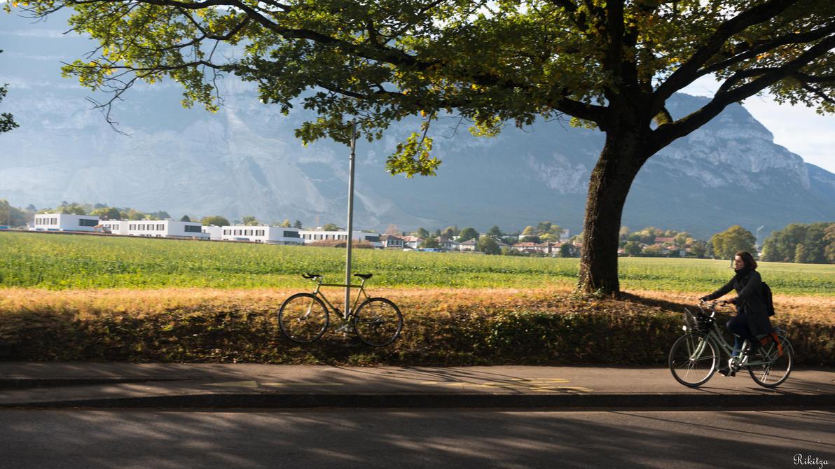 Geneva I love - with the bike near Saleve by Rikitza